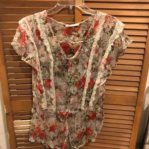 Foreign Exchange Sheer Floral Blouse